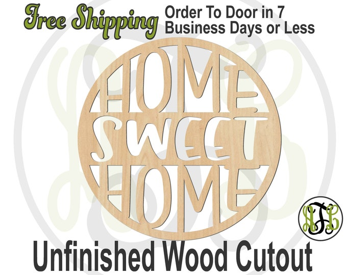HOME SWEET HOME -325116- Front Door Cutout, unfinished, wood cutout, laser cut, wood cut out, Door Hanger, wooden sign, Entrance Sign