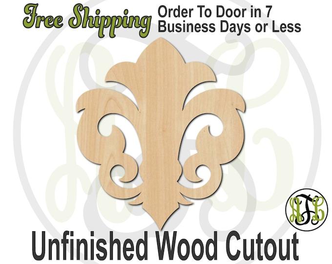 Fleur de Lis 15- No. 300034- Cutout, unfinished, wood cutout, wood craft, laser cut shape, wood cut out, Door Hanger, wooden, ready to paint