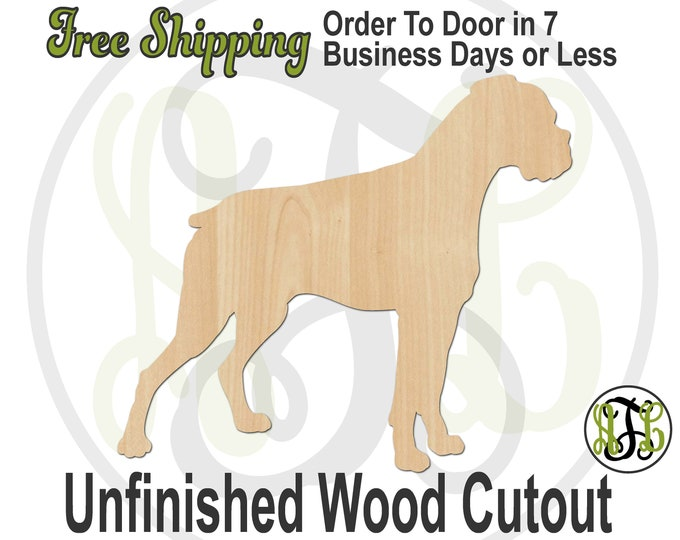 Boxer with Floppy Ears - 230124- Dog Cutout, unfinished, wood cutout, wood, laser cut shape, wood cut out, Door Hanger, wooden, blank