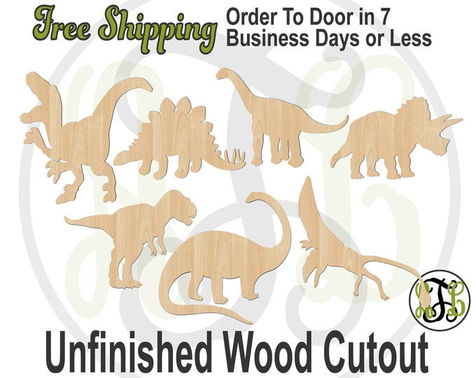 Dinosaurs - 230151-57- Animal Cutout, unfinished, wood cutout, wood craft, laser cut shape, wood cut out, Door Hanger, wooden, T Rex