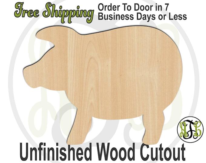 Pig 3 - 230095- Animal Cutout, unfinished, wood cutout, wood craft, laser cut shape, wood cut out, Door Hanger, Farm Animal, wooden, blank
