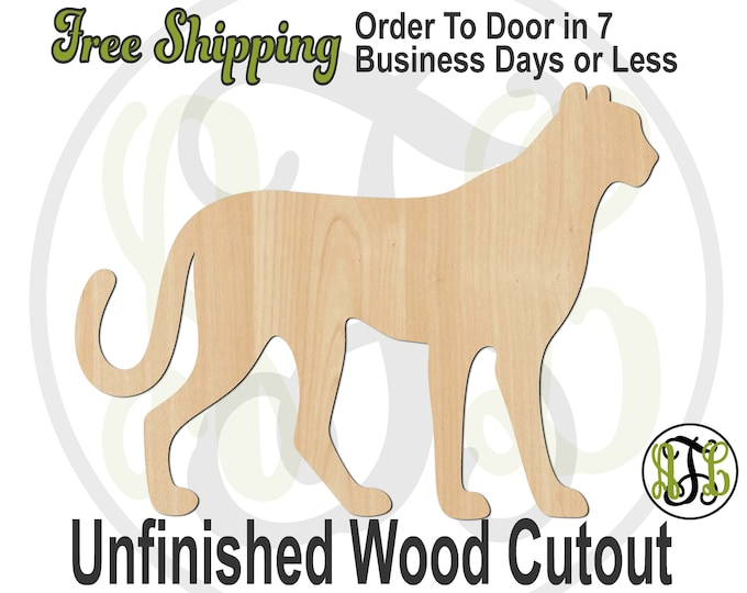 Cheetah Mascot - 60534 - Cat Cutout, unfinished, wood cutout, wood craft, laser cut shape, wood cut out, wood cut out, wooden