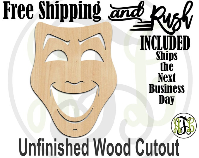 Happy Mask - 130003- Mardi Gras Cutout, unfinished, wood cutout, wood craft, laser cut shape, wood cut out, Door Hanger, RUSH PRODUCTION