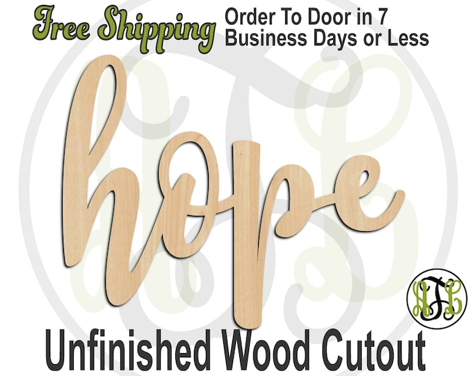 hope - 320263FrFt- Religious Cutout, unfinished, wood cutout, wood craft, laser cut wood, wood cut out, Door Hanger, wooden, wreath accent
