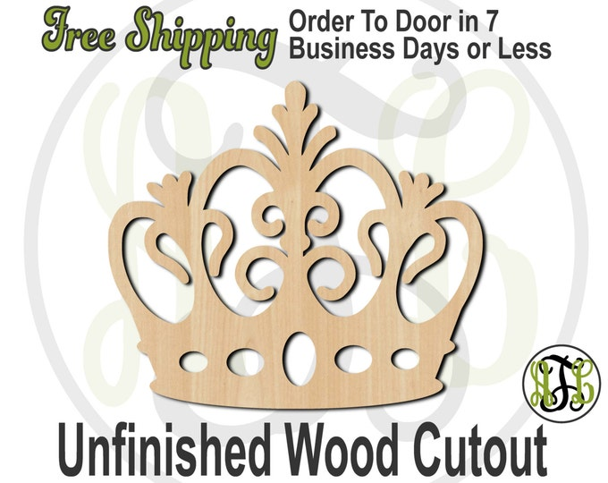 Crown 14 - 24414- Cutout, unfinished, wood cutout, wood craft, laser cut shape, wood cut out, Door Hanger, wooden, ready to paint
