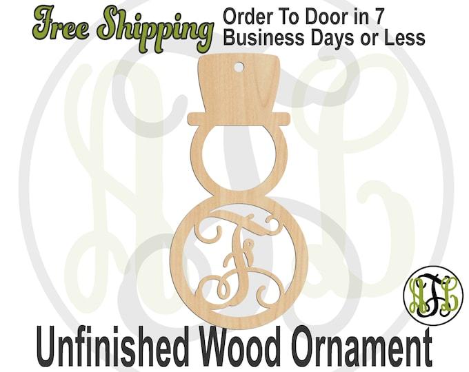 Ornament Snowman Initial, Rustic Unfinished Ornament, wood cutout, laser cut wood, Car Charm, Memento, Wooden Keepsake - 189000M1-BO