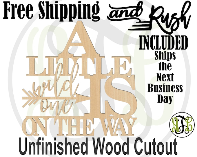 A Little wild one is on the way Wood Sign, Baby Shower, Gender Reveal Cutout, unfinished, wood cut out, laser cut -325178- RUSH PRODUCTION