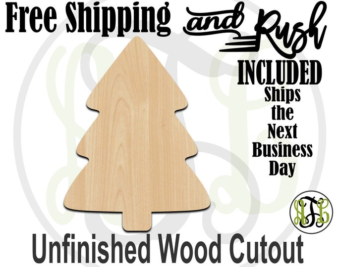 Simple Christmas Tree- 180050- Christmas Cutout, unfinished, wood cutout,  laser cut, Door Hanger, Holiday - RUSH PRODUCTION