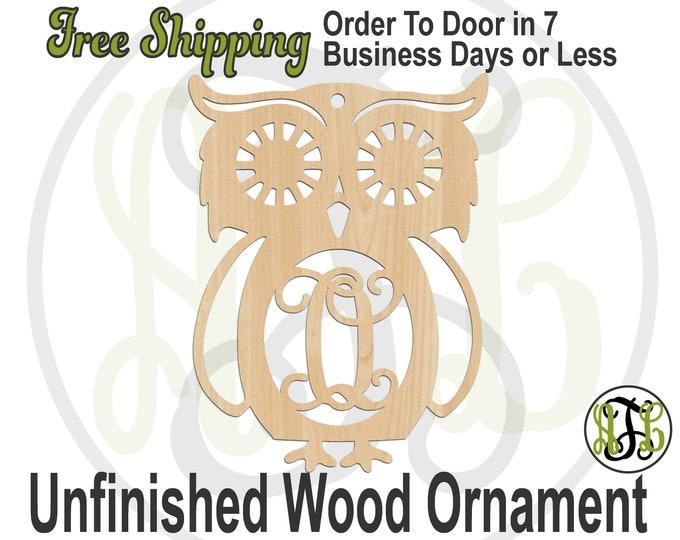 Ornament Retro Owl Monogram, Rustic Unfinished Ornament, wood cutout, laser cut wood,  Car Charm, wooden gift, Wooden Keepsake - 230100M1-BO