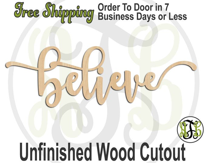 believe 2 - 320308FrFt- Word Cutout, unfinished, wood cutout, wood craft, laser cut wood, wood cut out, Door Hanger, wood cut out, wooden