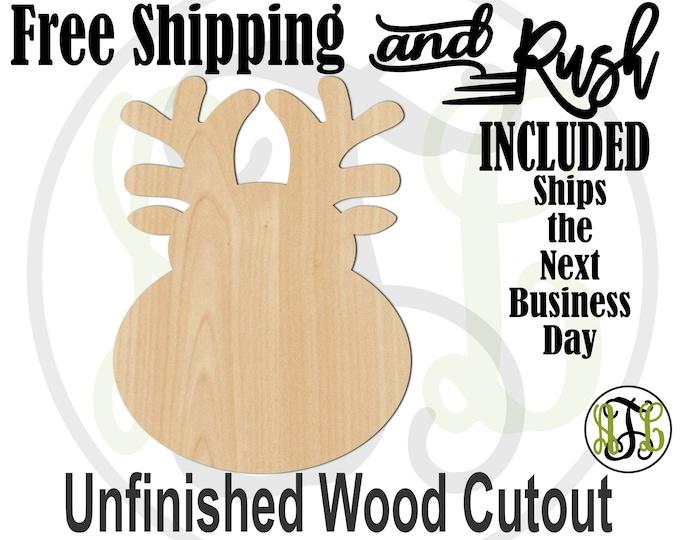 Cartoon Reindeer - 180093- Holiday Cutout, unfinished, wood cutout,  laser cut shape, Door Hanger - RUSH PRODUCTION