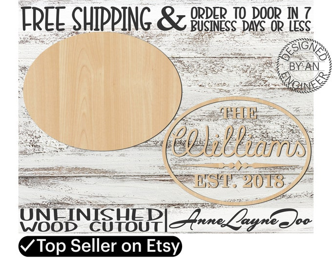 Established Name Sign DIY Kit Oval Sign Cutout, unfinished wood cutout, wooden, laser cut, Nursery Wall Plaque, Girl Sign, Boy Sign - 460006