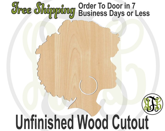 African American Lady Profile Cutout, African American Door Hanger, Afro Woman Sign, laser cut, unfinished wood cutout - 3300011