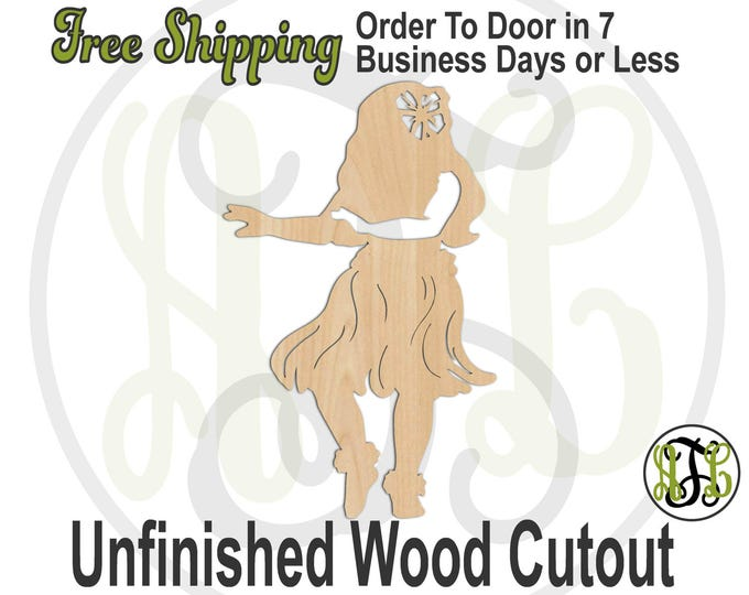 Hula Girl Hawaiian Wood Cutout, wood cut out, Hawaiian Girl Door Hanger, Moana, wooden, laser cut, unfinished wood cutout - 3300007