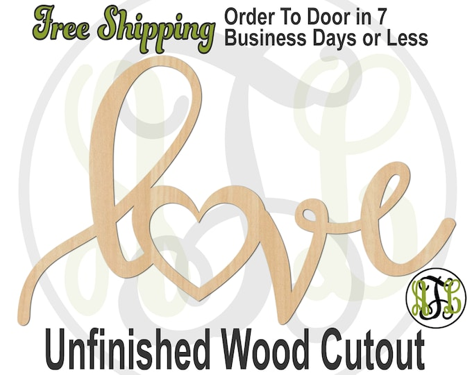 love - 321013- Cutout, unfinished, wood cutout, wood craft, laser cut wood, wood cut out, Door Hanger, wooden, wreath accent