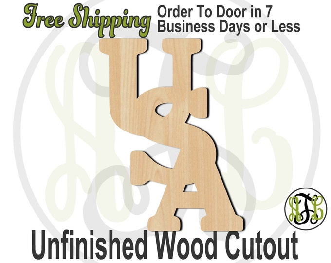 USA Solid - 150004- Holiday Cutout, unfinished, wood cutout, wood craft, laser cut shape, wood cut out, Door Hanger, wooden, wall art