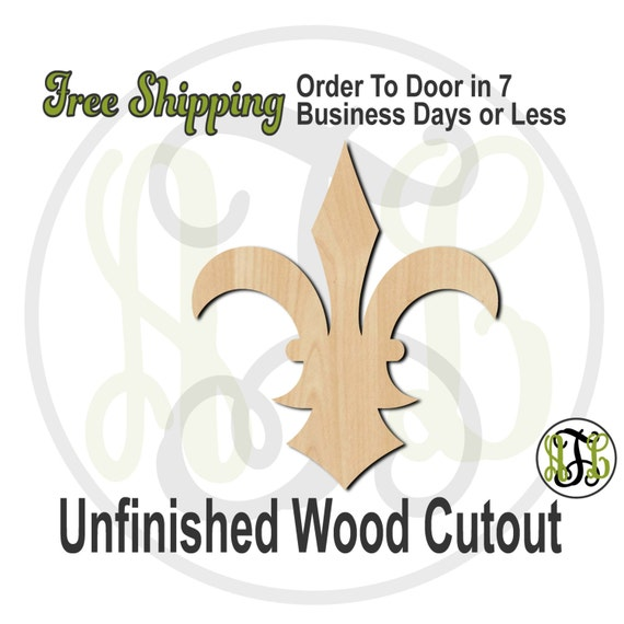 Fleur de Lis 19- 300038- Cutout, unfinished, wood cutout, wood craft, laser cut shape, wood cut out, Door Hanger, wooden, ready to paint