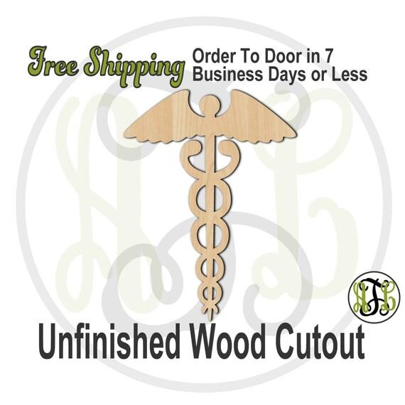 Caduceus - 300100- Medical Cutout, unfinished, wood cutout, wood craft, laser cut wood, wood cut out, Door Hanger, wooden sign, wall art