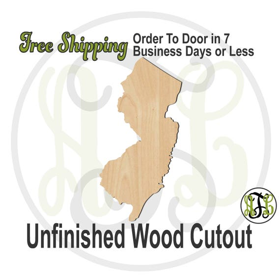 New Jersey State- 270026- State Cutout, unfinished, wood cutout, wooden, laser cut shape, wood cut out, Door Hanger, wood cut out, wood art