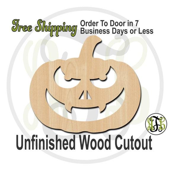 Pumpkin 8- 160030- Halloween Cutout, unfinished, wood cutout, wood craft, laser cut shape, wood cut out, Door Hanger, Jack O Lantern, wooden