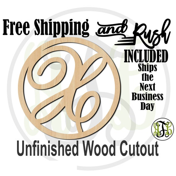 AS Script Initial in Thin Circle Frame Wood Sign, Initial Door Hanger Sign, unfinished, wood cut out, laser cut -100TCFAS- RUSH PRODUCTION
