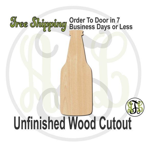 Beer Bottle - 300086- Cutout, unfinished, wood cutout, wood craft, laser cut shape, wood cut out, Door Hanger, Wedding Favor, wooden