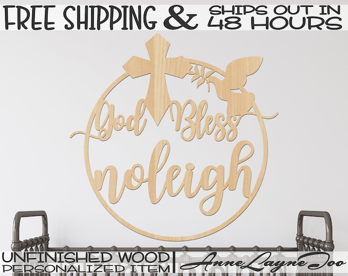 God Bless with Name Wood Sign, First Communion Cut Out, Confirmation Sign, unfinished, wood cut out, laser cut, Ships in 48 HOURS -990063