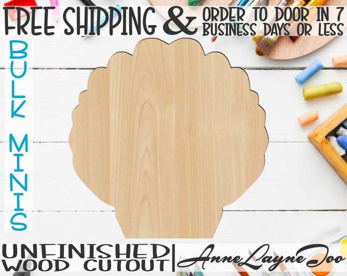 """Shell 2- 1"""" to 6"""" Minis, Small Wood Cutout, unfinished, wood cutout, wood craft, laser cut shape, wood cut out, ornament -50002"""
