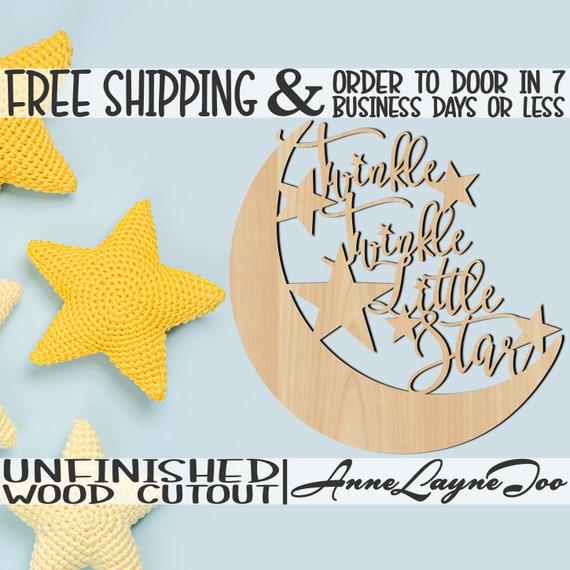 Twinkle Twinkle Little Star Wood Cutout, Nursery Cutout, Baby Shower wooden sign, wall art, unfinished, wood cut out, laser cut -325016