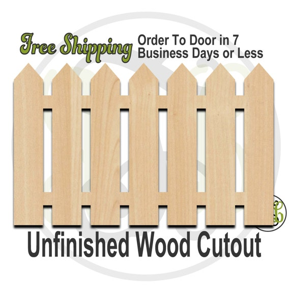 Picket Fence - 300108- Summer Cutout, unfinished, wood cutout, wood craft, laser cut shape, wood cut out, Door Hanger, wooden
