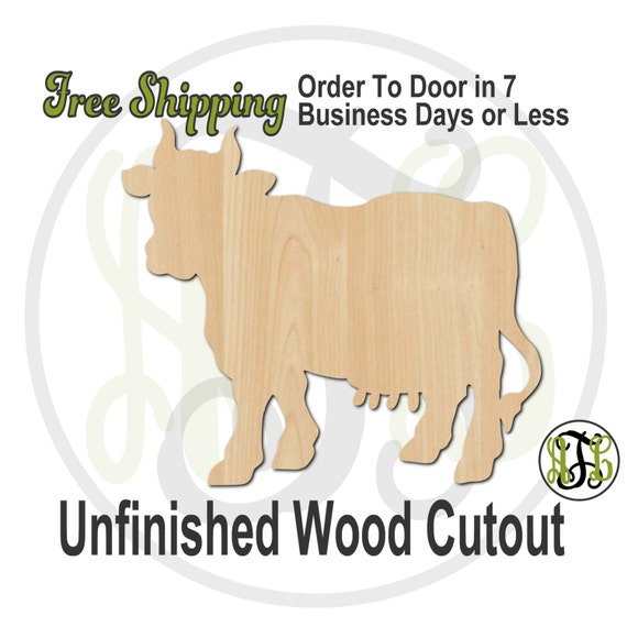 Cow - No. 230044- Farm Cutout, unfinished, wood cutout, wood craft, laser cut shape, wood cut out, Door Hanger, wooden, blank