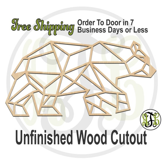 Geometric Bear - 480007- Animal Cutout, unfinished, wood cutout, wood craft, laser cut shape, wood cut out, Door Hanger, wooden, wall art