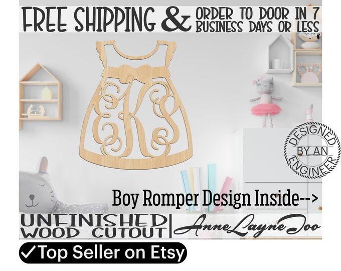 Girl Dress or Boy Romper 3 Letter Monogram Wood Cutout, Nursery Sign, Shower Sign, unfinished, wood cut out, laser cut -20016M3 or 10034M3