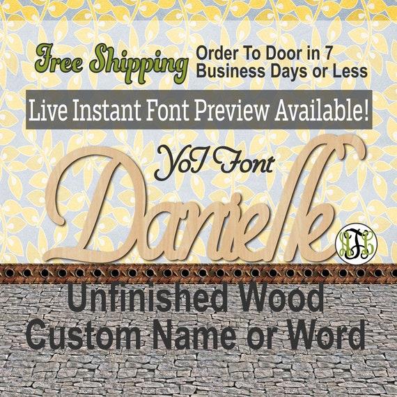 Custom Wood Name Sign, YoI Font, Cursive, Connected, wood cut out, wood cutout, wooden sign, Nursery, Wedding, Birthday, word sign