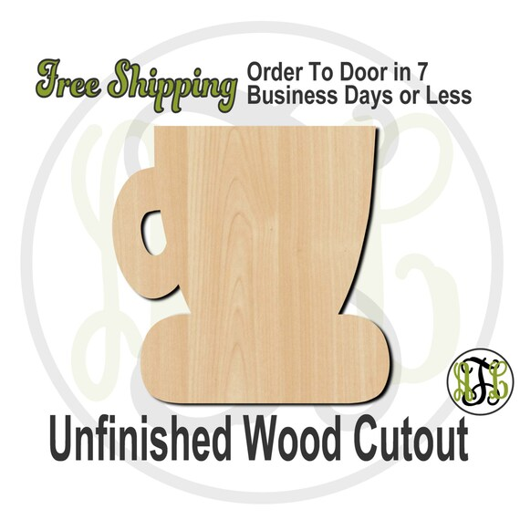 Coffee Cup - 70010- Cutout, unfinished, wood cutout, wood craft, laser cut shape, wood cut out, Door Hanger, wooden, ready to paint