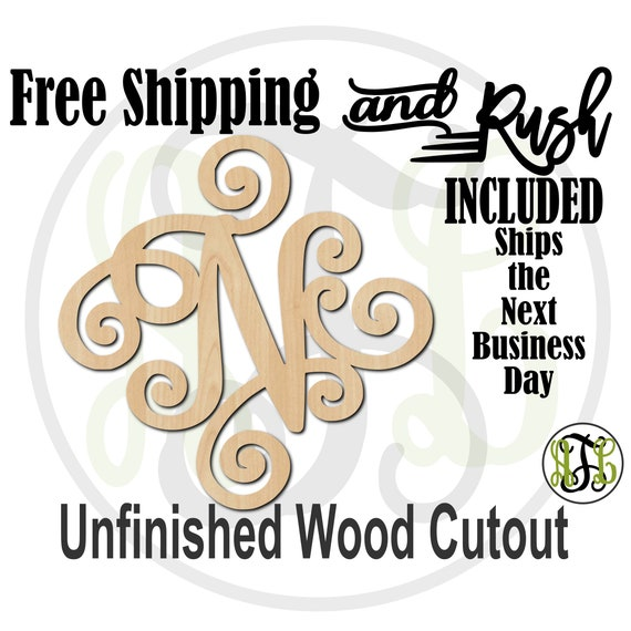 Elegant Scroll Initial Wood Cutout, Monogram Sign, Initial Door Hanger, unfinished, wood cut out, laser cut -410004 A-Z- RUSH PRODUCTION
