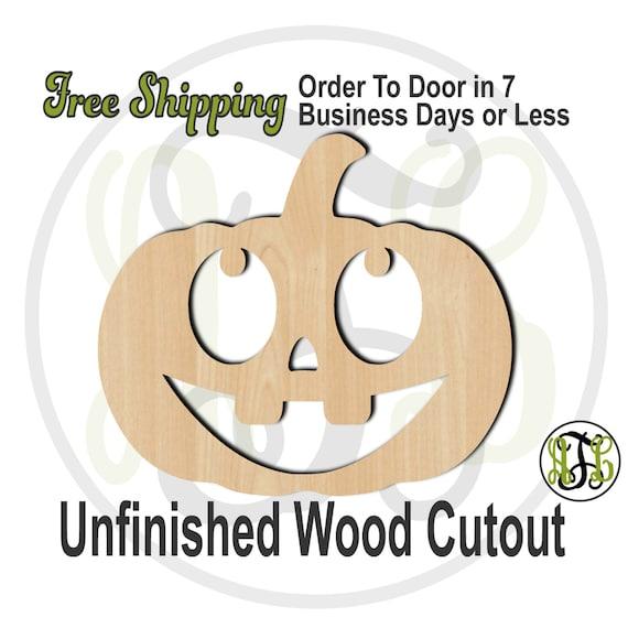 Pumpkin 4- 160026- Halloween Cutout, unfinished, wood cutout, wood craft, laser cut shape, wood cut out, Door Hanger, Jack O Lantern, wooden