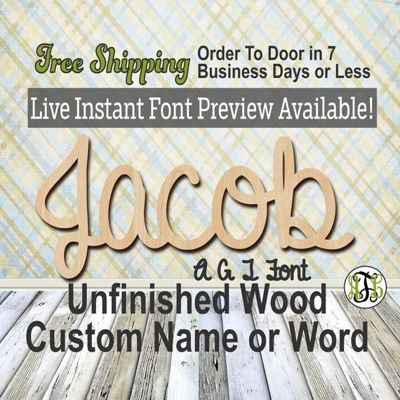 Custom Wood Name Sign, AGT Font, Cursive, Connected, wood cut out, wood cutout, wooden sign, Nursery, Wedding, Birthday, word sign