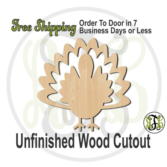 Turkey 2- 170005- Thanksgiving Cutout, unfinished, wood cutout, wood craft, laser cut shape, wood cut out, Door Hanger, wooden, wall art