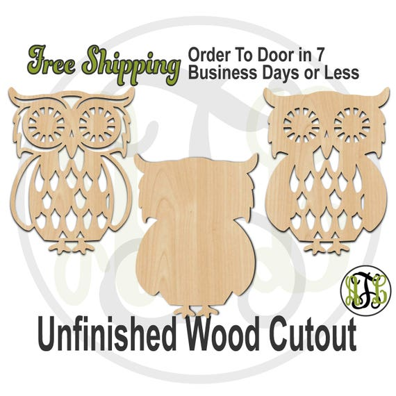 Retro Owl - 230100-102- Nature Cutout, unfinished, wood cutout, wood craft, laser cut shape, wood cut out, Door Hanger, Fall, wooden