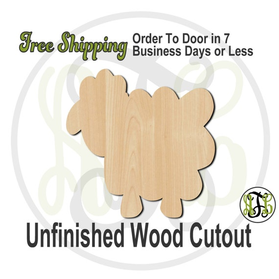 Sheep - 230021- Cutout, unfinished, wood cutout, wood craft, laser cut shape, wood cut out, Door Hanger, wooden, wreath accent