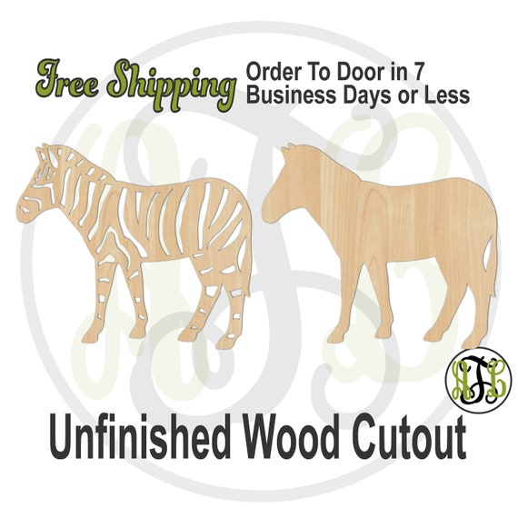 Zebra with Stripes or Solid - 230164 or 65 - Animal Cutout, unfinished, wood cutout, wood craft, laser cut shape, wood cut out, Door Hanger
