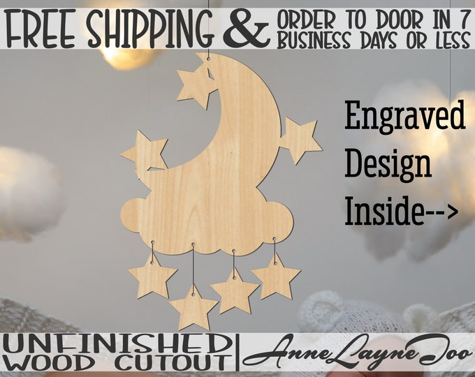Moon w/ Stars on Cloud & Extra Stars to Hang Wood Cutouts, Hospital Birth Announcement Hanger, unfinished, wood cut out, laser cut -31001