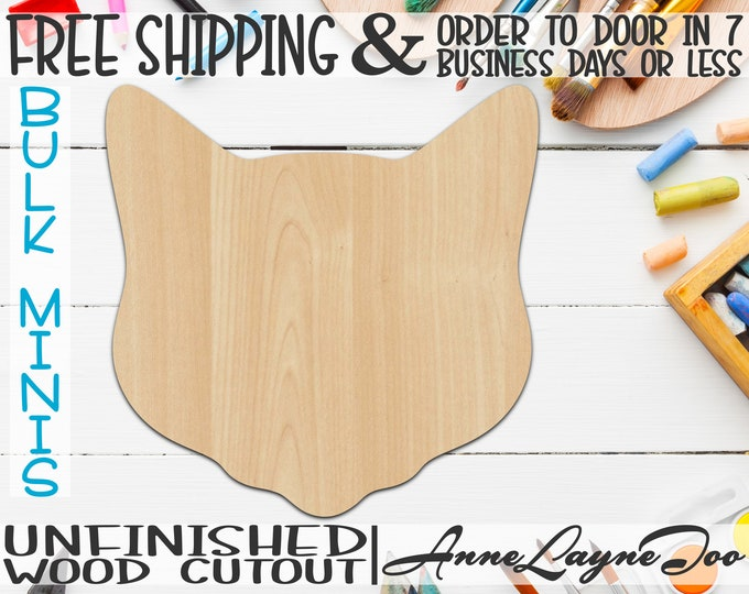 """Cat Head Mascot - 1"""" to 6"""" Minis, Small Wood Cutout, unfinished, wood cutout, wood craft, laser cut, wood cut out, ornament -60505"""