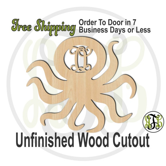 Octopus Monogram - 230065M1- Personalized Cutout, Initial, unfinished, wood cutout, wood craft, laser cut, wood cut out, wooden
