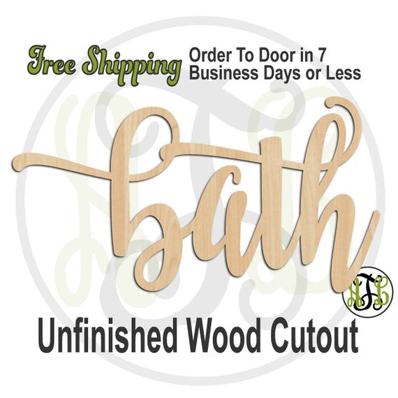bath 2 - 320288FrFt- Word Cutout, unfinished, wood cutout, wood craft, laser cut wood, wood cut out, Door Hanger, wood cut out, wooden sign