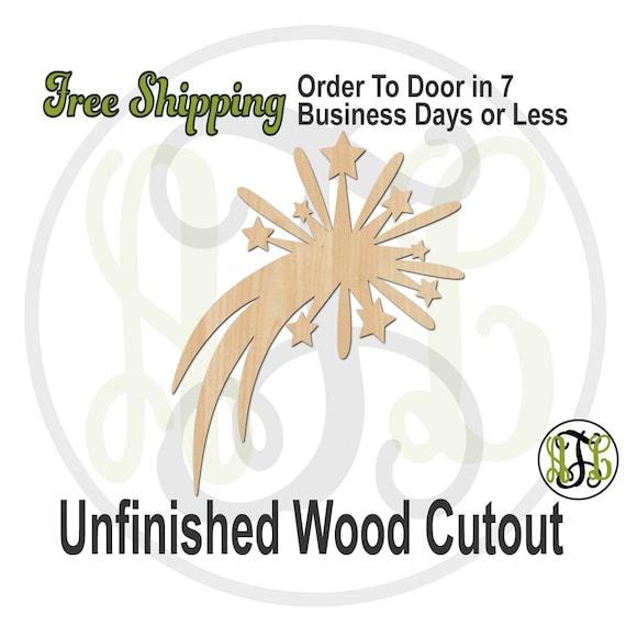 Firework- 150005- July 4th Cutout, unfinished, wood cutout, wood craft, laser cut shape, wood cut out, Door Hanger, Fire Cracker, wooden