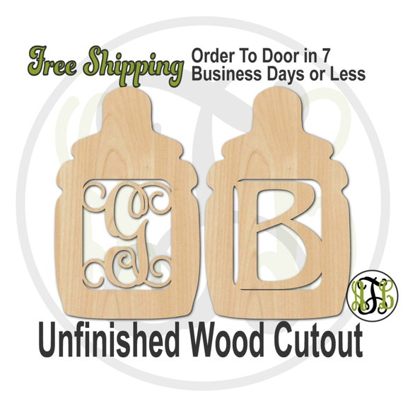 Bottle Girl or Boy Monogram- 30008M1- Personalized Cutout, Initial, unfinished, wood cutout, laser cut wood, wood cut out, wooden, wall art