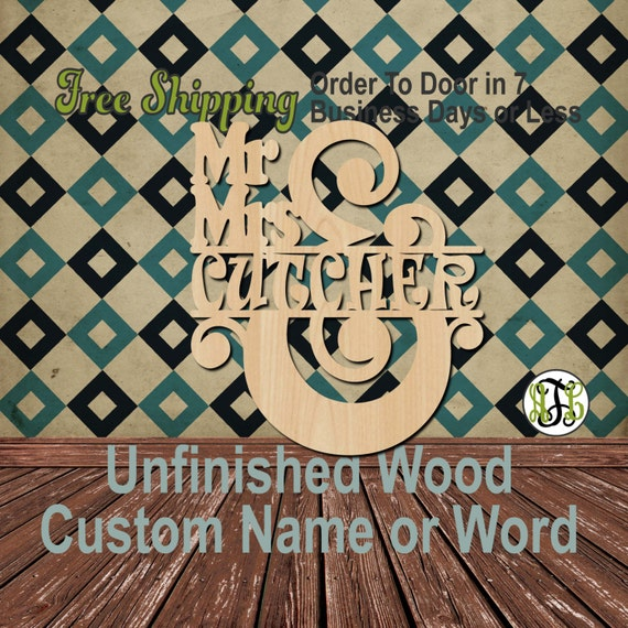 Mr. and Mrs. Name Plate 3- 320103- Personalized Cutout, unfinished, wood cutout, wood craft, laser cut wood, wood cut out, Wedding, wooden