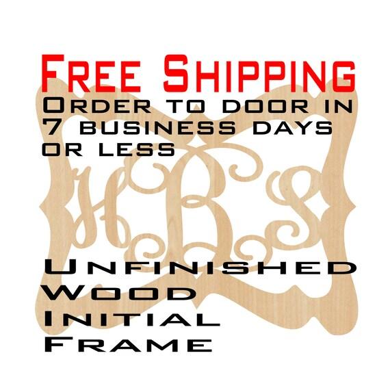 Unfinished Wood Hallie Frame Monogram, Name, Word, Custom, laser cut wood, wooden cut out, Wedding, Personalized, DIY